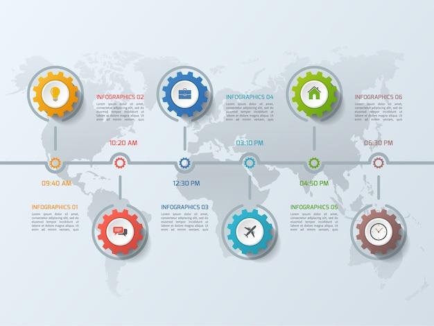 Modello di business infografica timeline con ruote dentate di ingranaggi