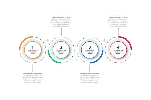 Modello di business infographic colorato con 4 opzioni