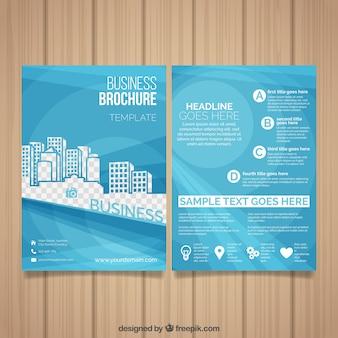 Modello di business leaflet con edifici decorativi
