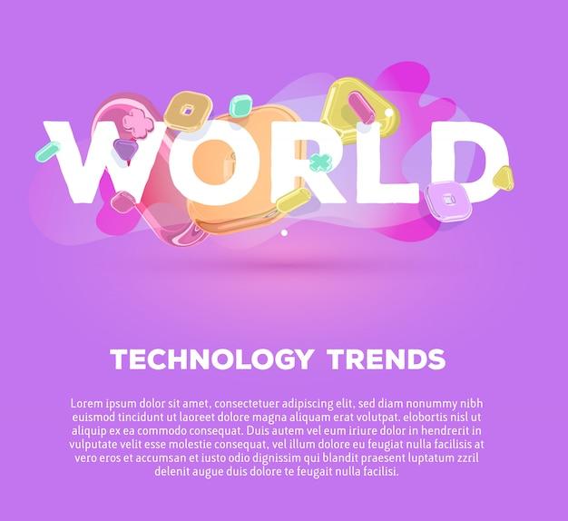 Modello di business moderno con elementi di cristallo luminosi e parola mondo su sfondo viola con ombra, titolo e testo.