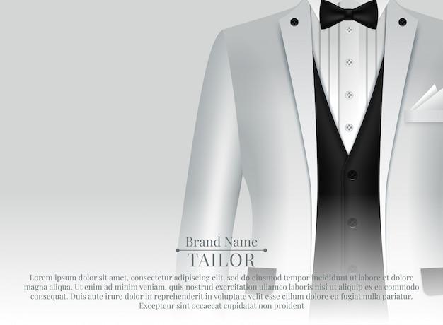 Modello di business suit con cravatta nera e camicia bianca in stile realistico