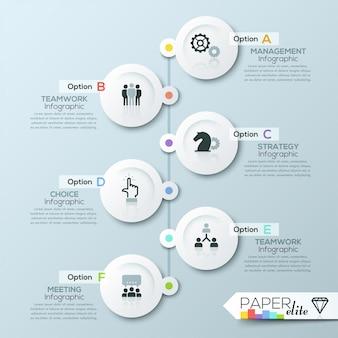 Modello di business timeline infografica con cerchi