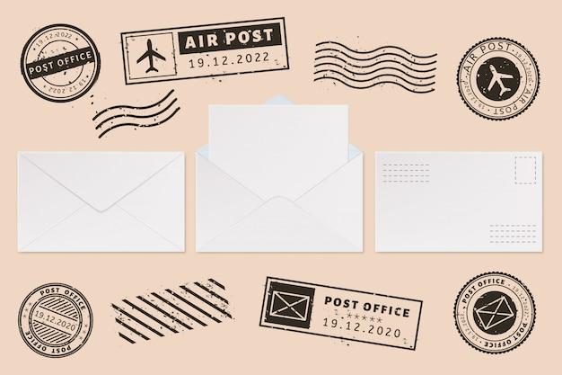 Modello di busta con etichetta timbro. spedisca i francobolli della lettera e della posta, la busta aperta della posta con lo strato della lettera della carta in bianco, insieme dell'illustrazione dei modelli di affari dell'ufficio postale. francobollo. permettere impronte