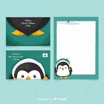 Modello di busta di natale pinguino