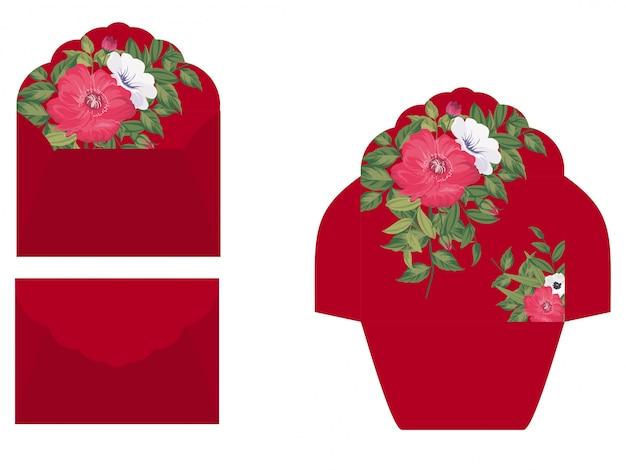 Modello di busta floreale con stile floreale