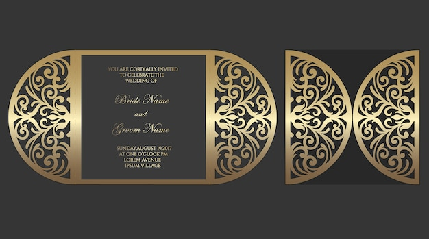 Modello di busta piega cancello taglio laser per inviti di nozze.