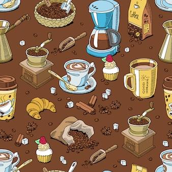 Modello di caffè senza soluzione di continuità chicchi di caffè e coffeecup bere espresso caldo o cappuccino in coffeeshop e tazza con caffeina in bar illustrazione sfondo