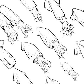 Modello di calamari tra cui senza soluzione di continuità su sfondo bianco