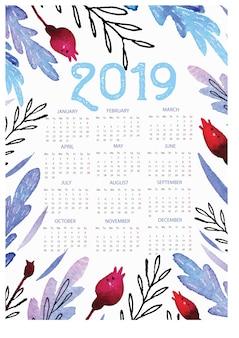 Modello di calendario 2019 con sfondo acquerello floreale