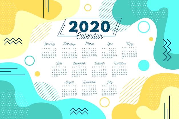 Modello di calendario 2020 astratto