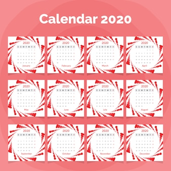 Modello di calendario 2020 con onde colorate