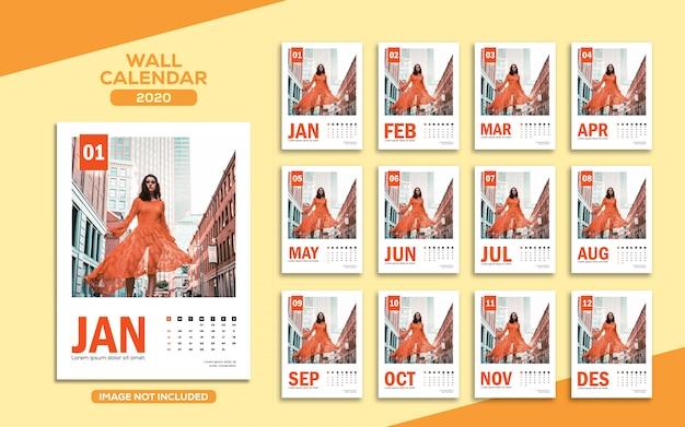 Modello di calendario 2020 da parete