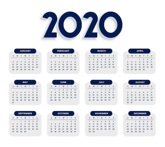 Modello di calendario 2020 pulito ed elegante