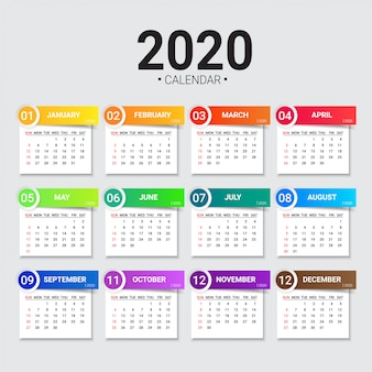 Modello di calendario 2020