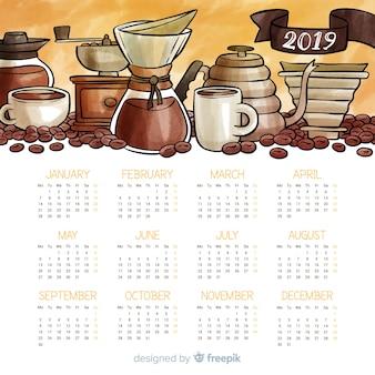 Modello di calendario acquerello bella 2019