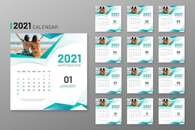 Vettore Premium | Modello di calendario 2021 illustrato