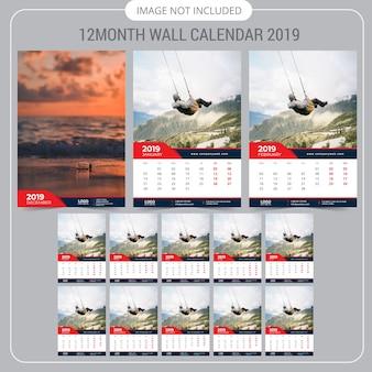Modello di calendario calendario parete 2019