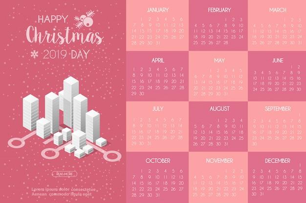 Modello di calendario con la casa