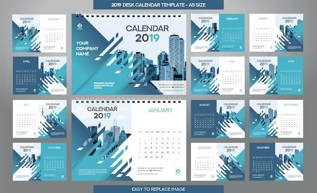 Modello di calendario da tavolo 2019 - 12 mesi inclusi