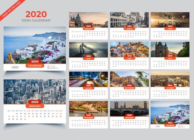 Modello di calendario da tavolo 2020