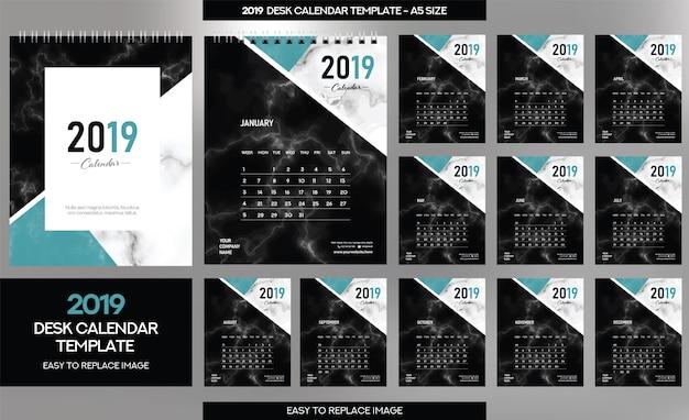 Modello di calendario da tavolo in marmo 2019