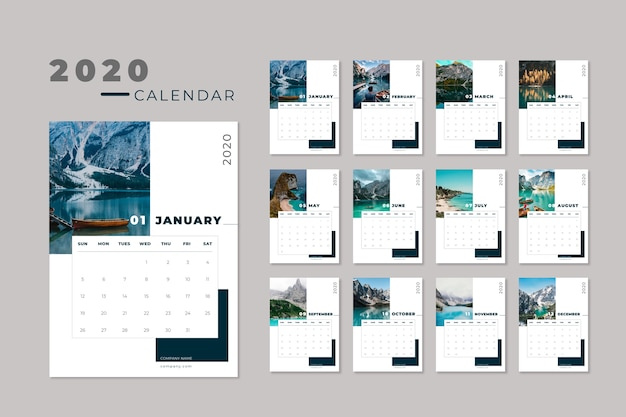 Modello di calendario di viaggio 2020