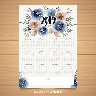 Modello di calendario floreale dell'acquerello 2019