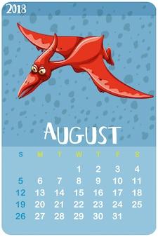 Modello di calendario per agosto