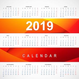 Modello di calendario rosso moderno 2019 con il vettore di onda