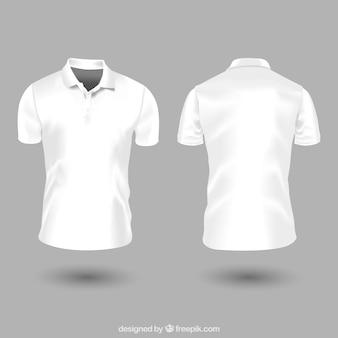 Modello di camicia di polo uomo bianco