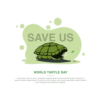 Modello di campagna world turtle day. illustrazione vettoriale
