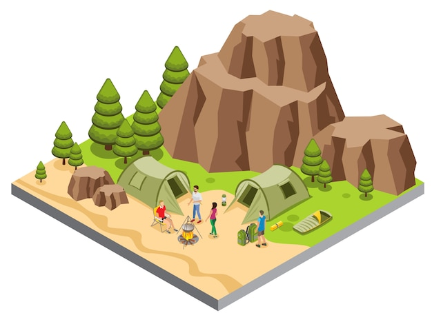 Modello di campeggio isometrico della montagna con gli alberi dei turisti che cucinano gli alberi della lanterna del sacco a pelo della stuoia delle tende