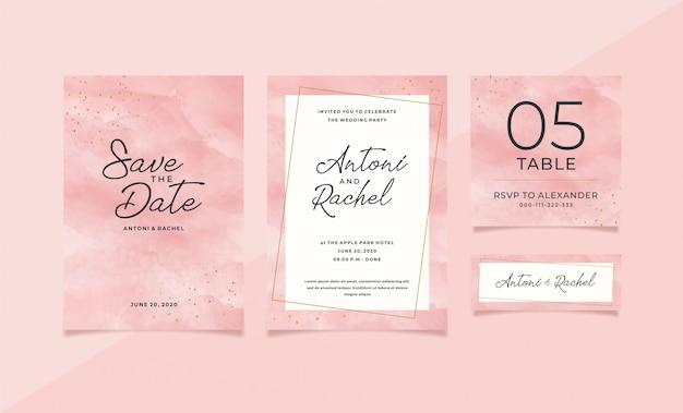 Modello di cancelleria di nozze dell'acquerello rosa