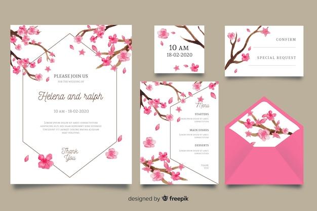 Modello di cancelleria di nozze rosa dell'acquerello