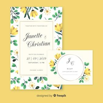 Modello di cancelleria floreale matrimonio acquerello