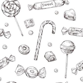 Modello di caramelle disegnate a mano