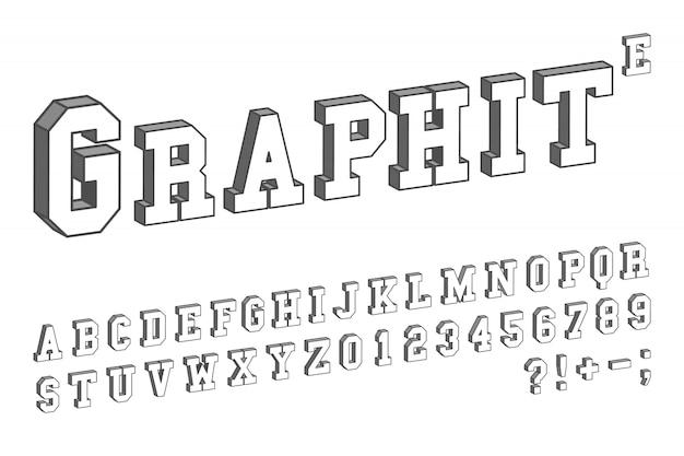 Modello di carattere 3d. disegno isometrico di lettere e numeri. illustrazione vettoriale
