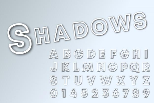 Modello di carattere alfabeto linea di ombre.