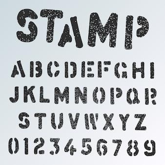 Modello di carattere di alfabeto del timbro del grunge