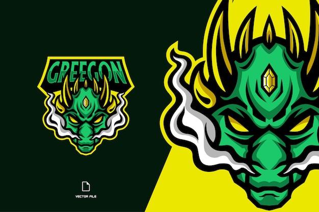 Modello di carattere di design logo mascotte drago verde