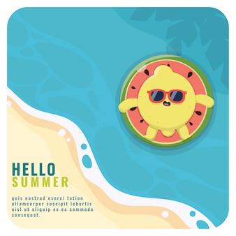 Modello di carattere kawaii di limone mascotte estate