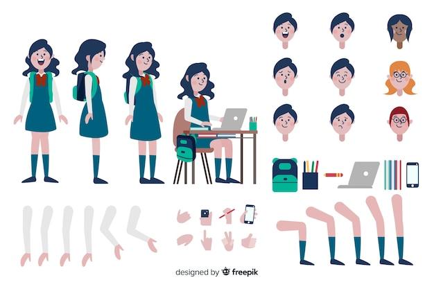 Modello di carattere ragazza dei cartoni animati