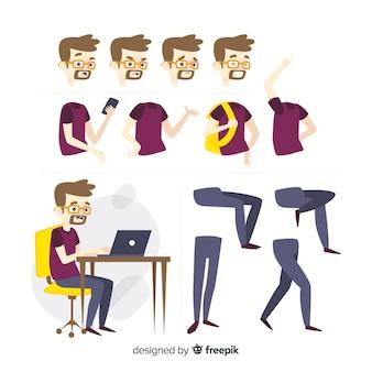Modello di carattere studente dei cartoni animati