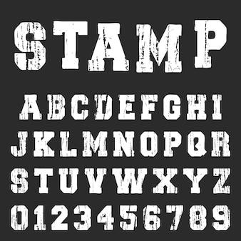 Modello di carattere vintage alfabeto martellata