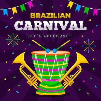 Modello di carnevale brasiliano con batteria