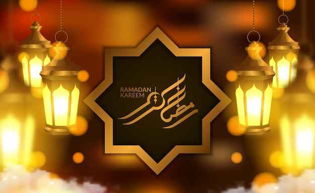 Modello di carta banner ramadan kareem poster con lampada a sospensione lanterna