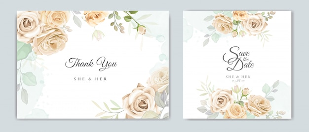 Modello di carta bella cornice floreale invito a nozze