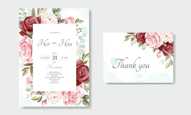 Modello di carta bella corona floreale invito a nozze