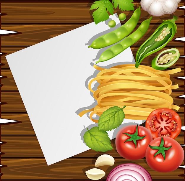 Modello di carta bianca con ingredienti freschi