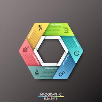 Modello di carta ciclo moderno infografica su sfondo scuro